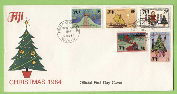 Fiji 1984 Christmas. Children's Paintings set on First Day Cover