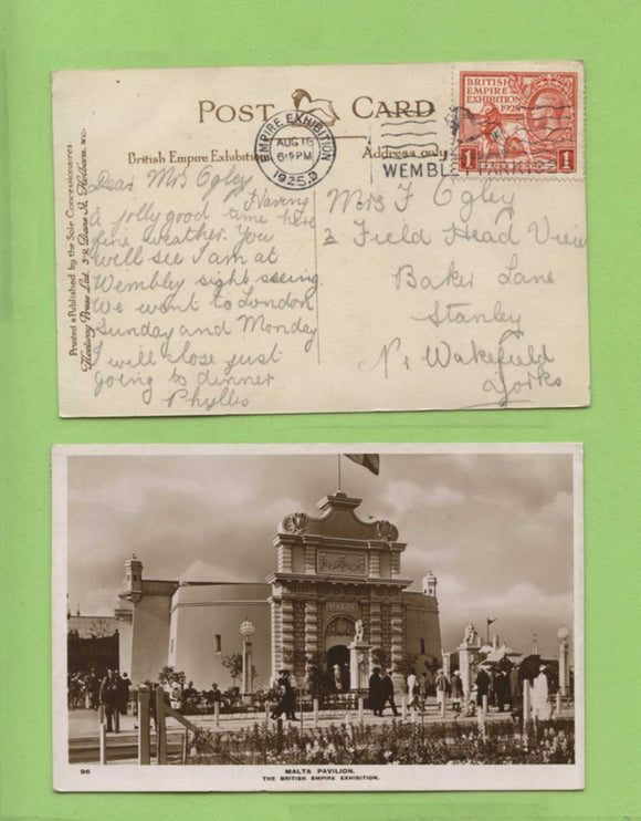 G.B. 1925 KGV 1d Wembley on PPC with British Emoire Exhibition 1925 slogan cancel