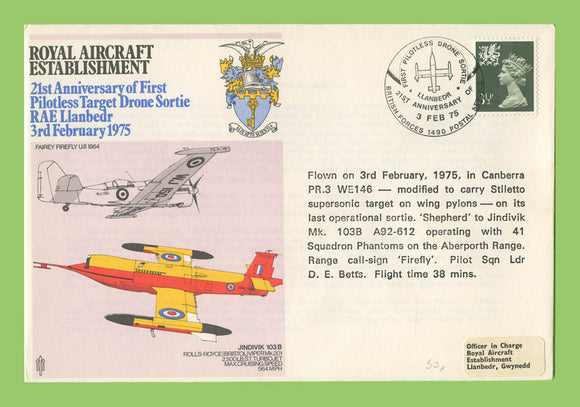 G.B. 1975 Royal Aircraft Establishment, Drone Sortie, RAF flown cover