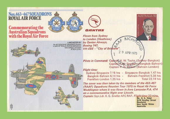 G.B. 1975 No 463-467 Squadrons, Commemorating Australian Sqns , RAF flown cover