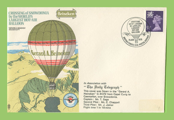 G.B. 1975 Crossing of Snowdonia in the Worlds Larges Hot Air Balloon , RAF flown cover