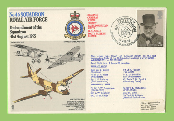 G.B. 1975 No 46 Squadron, Disbandment, RAF flown cover