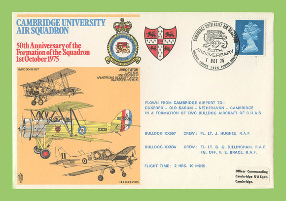G.B. 1975 Formation of Cambridge University Squadron 50th Anniversary, RAF flown cover