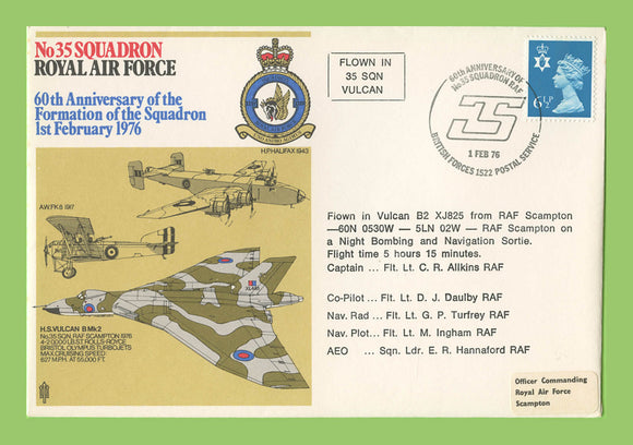 G.B. 1975 Formation of No 35 Squadron 50th Anniversary, RAF flown cover