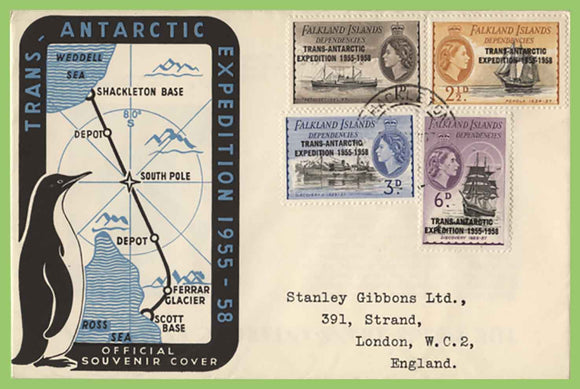 Falkland Island Dependencies 1958 Trans Antarctic Expedition First Day Cover