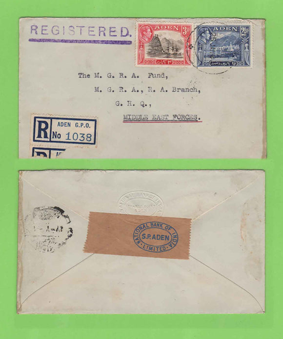 Aden 1945 KGVI 3a & 2½a on registered cover to GHQ Middle East Forces