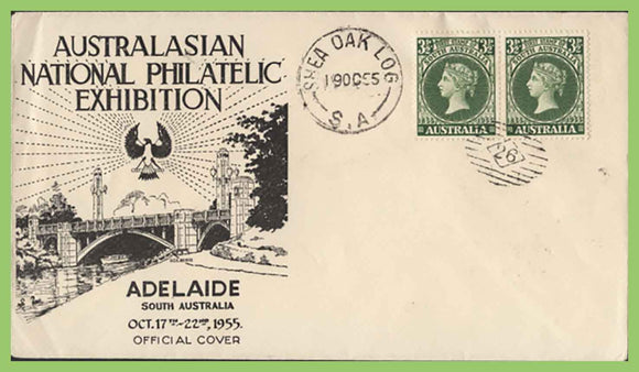 Australia 1955 S.A. Stamp Centenary Exhibition special cancel cover