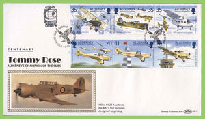 Alderney 1995 Tommy Rose Centenary Aircrafts set on First Day Cover, Singapore Exhibition cachet