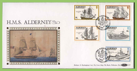 Alderney 1990 HMS Alderney ship set on First Day Cover