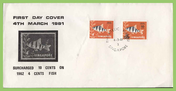 Singapore 1981 10c on 4c (Fish) surcharge with original on First Day Cover