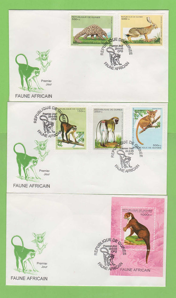 Guinea 1995 Fauna (Mammals) stamps & sheet on three First Day Covers
