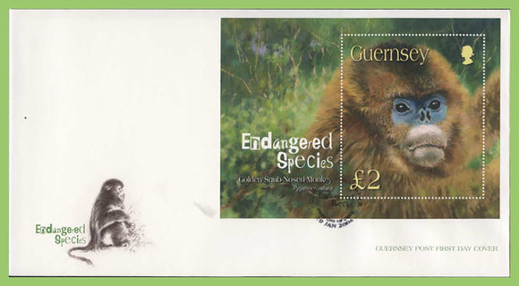 Guernsey 2004 Endangered Species (1st series) miniature sheet on First Day Cover