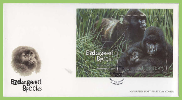 Guernsey 2007 Endangered Species (4th series). Mountain Gorilla M/S on First Day Cover
