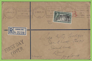 Gibraltar 1938 KGVI 1/- on registered First Day Cover, Slogan machine cancel