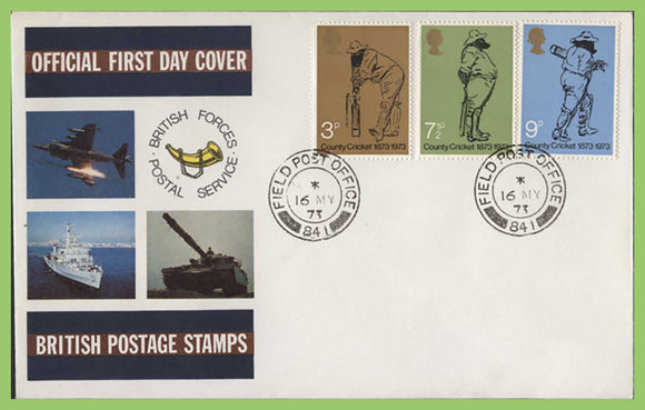 G.B. 1973 Cricket set on Forces First Day Cover, FPO 841
