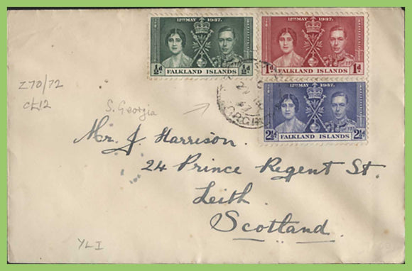 Falkland Is.1937 KGVI Coronation set on registered Cover, South Georgia