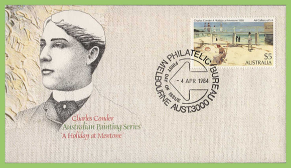 Australia 1984 Charles Conder 'A Holiday Mentone' $5 painting on First Day Cover