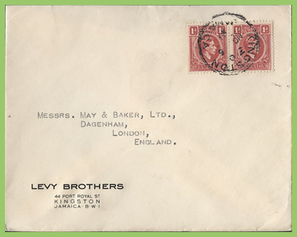 Jamaica 1951? KGVI 1d pair on cover to England