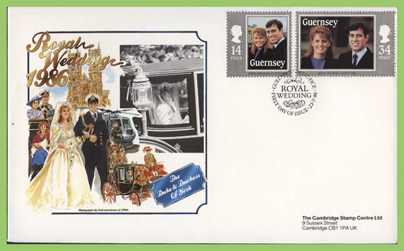 Guernsey 1986 Royal Wedding, Duke & Duchess of York First Day Cover