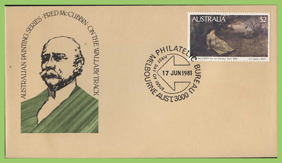 Australia 1981 $2 Fred McCubbin painting on First Day Cover
