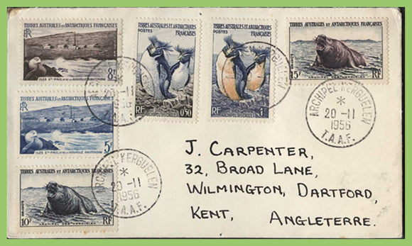 French Antarctic 1956 six definitives to 15f on cover, Archipel Kereguelen TAAF