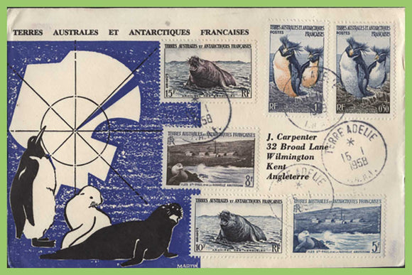 French Antarctic 1958 six definitives to 15f on illustrated cover, Terre Adelie
