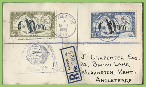 French Antarctic 1958 50f & 100f on registered Cover, Terre Adelie