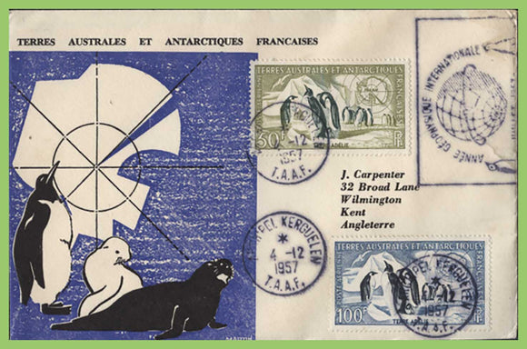 French Antarctic 1957 50f & 100f on illustrated Cover, Archipel Kerguelen