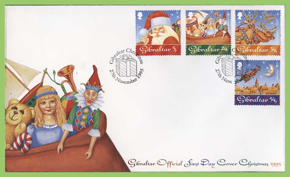 Gibraltar 1995 Christmas set on First Day Cover