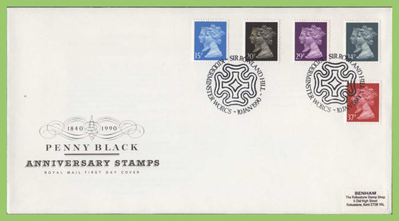 G B  1990 Penny Black Anniversary set on Royal Mail First Day Cover  Kidderminster