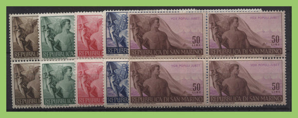 San Marino 1948 Workers' Issue set block of four UM, sg367/371