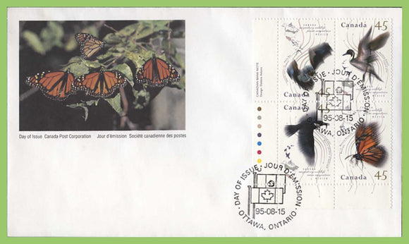 Canada 1995 Wildlife block on First Day Cover