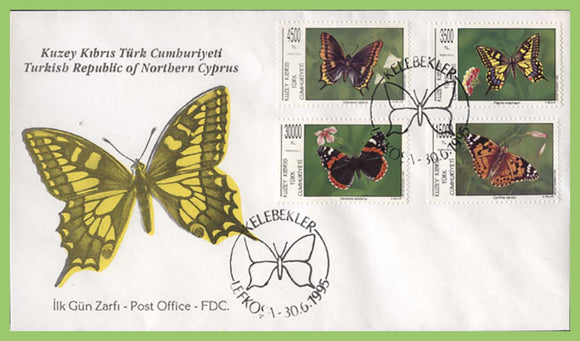 Cyprus (Turkish) 1995 Butterflies set on First Day Cover