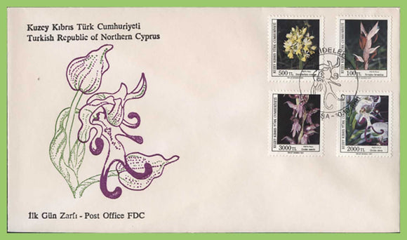 Cyprus (Turkish) 1991 Orchids four stamp set on First Day Cover