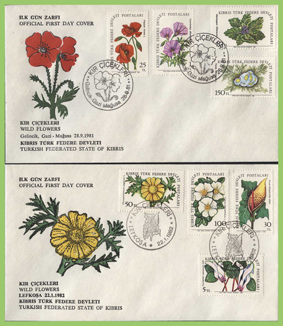 Cyprus (Turkish) 1992 Flowers set on two First Day Covers