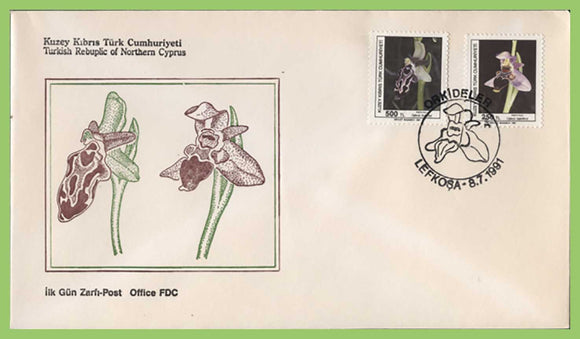 Cyprus (Turkish) 1991 Orchids set on First Day Cover
