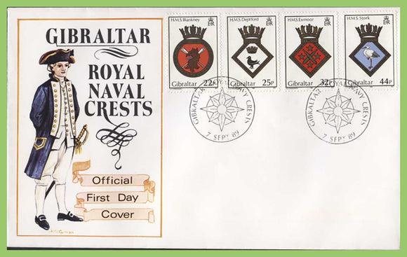 Gibraltar 1989 Royal Naval Crests set First Day Cover