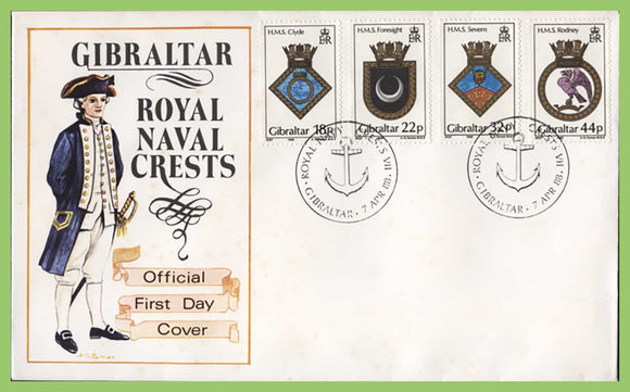 Gibraltar 1988 Royal Naval Crests set First Day Cover
