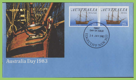 Australia 1983 Australia Day, ships set on First Day Cover