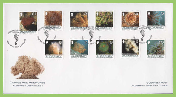 Alderney 2006 Corals and Anemones, 11 stamps on First Day Cover