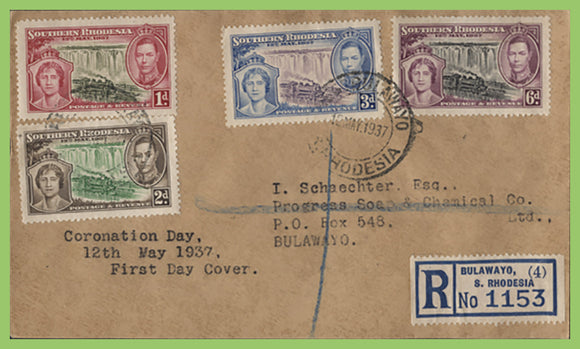 Southern Rhodesia 1937 KGVI Coronation set First Day Cover