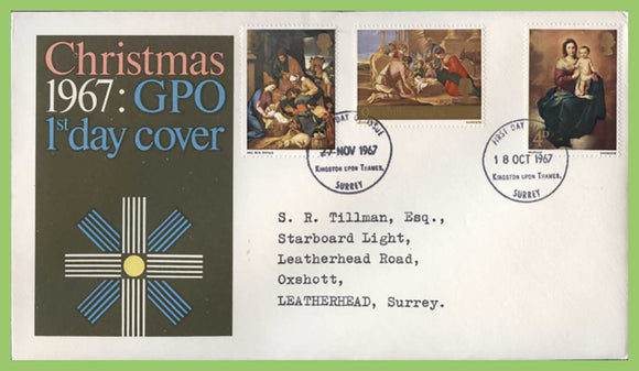 G.B. 1967 Christmas set on double date GPO First Day Cover, Kingston on Thames