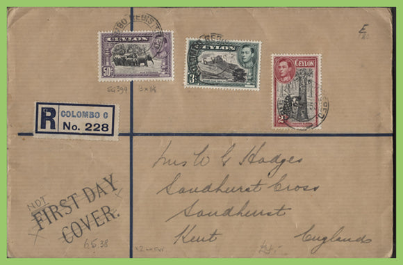 Ceylon 1938 KGVI 2c, 3c & 50c on registered cover. (Nor FDC as Printed on cover)