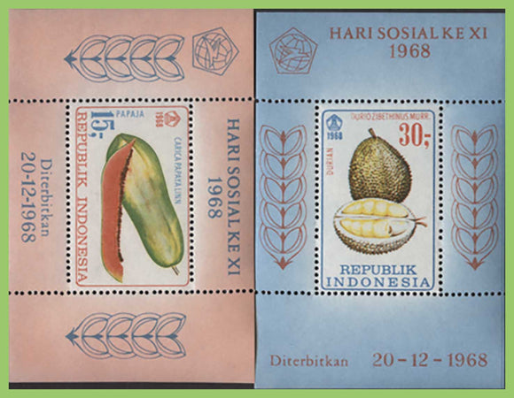 Indonesia 1968 Fruit, two miniature sheets UM, MNH