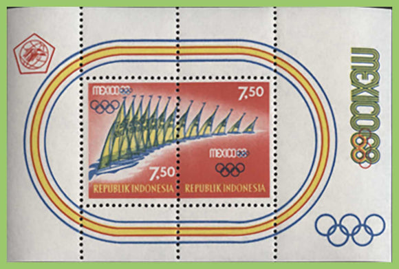 Indonesia 1968 Mexico Olympic games Miniature sheet, UM, MNH