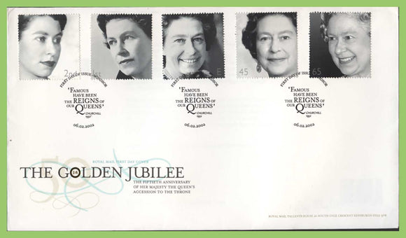 G.B. 2002 The Golden Jubilee set on u/a Royal Mail First Day Cover, Windsor