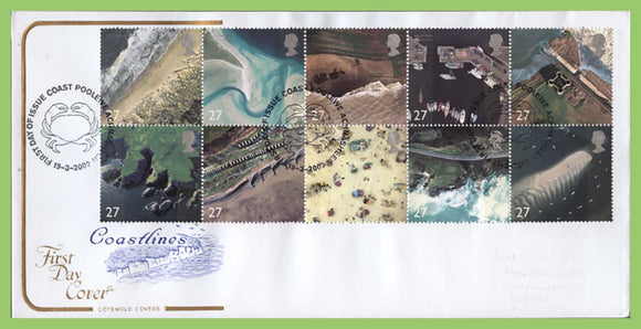 G.B. 2002 Coastlines set on u/a Cotswold First Day Cover, Poole