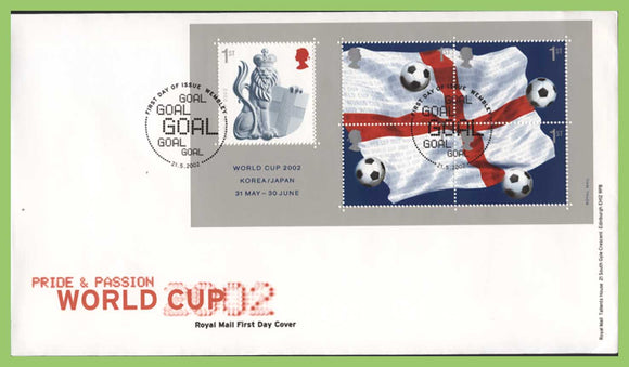 G.B. 2002 Football World Cup miniature sheet Royal Mail First Day Cover, Wembley