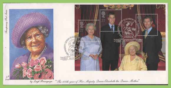 G.B. 2000 Queen Mother miniature sheet on 4d First Day Cover, Windsor
