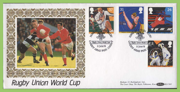 G.B. 1991 Sports set on Benham First Day Cover, Cardiff Arms Park, Rugby